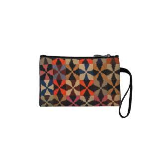 Vintage Pine Burr Quilt Bag Wristlet Purse