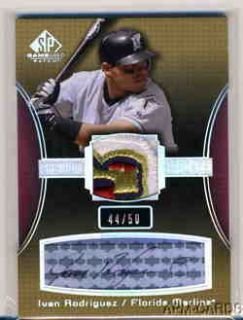 Ivan Rodriguez 2004 UD SP Game Used Marlins MVP 100 Seasons Logo Patch