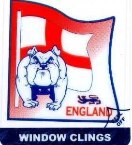 English Bulldog St George Cross Window Cling Sticker
