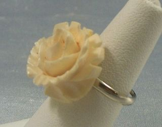 Vintage Faux Ivory Carved Rose Ring Adj Silver Tone