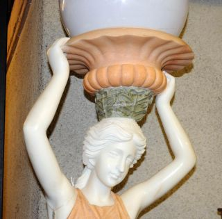 Pair XL Italian Marble Female Lamps Torcheres Architectural Figurine