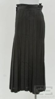 Issey Miyake Black Pleated Long Wrap Skirt Size Medium