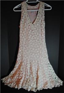 New Isabel Lu Designer Crochet V Neck Summer Dress XS
