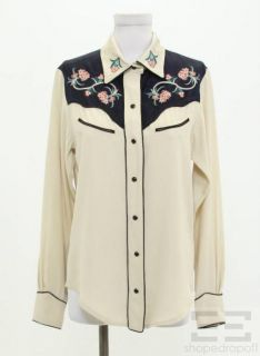 Isabel Marant Beige Navy Embroidered Blouse Size 40 New