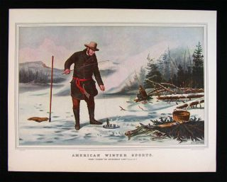 Currier and Ives Print American Winter Sports Trout Ice Fishing