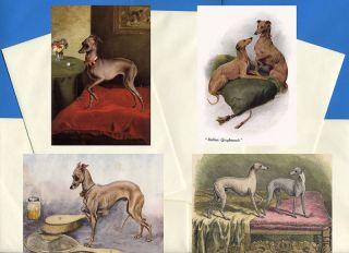 Italian Greyhound 4 Dog Print Greetings Note Cards 1