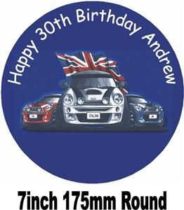 MINI COOPER ITALIAN JOB BIRTHDAY CAKE TOPPER +PERSONALISED FREE
