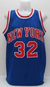 Jerry Lucas Autographed New York Knicks Blue Jersey PSA