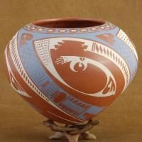 Mata Ortiz Large Polychrome Pottery Vase Ismael Flores