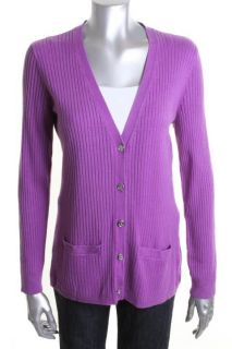 Ralph Lauren New Purple Silk Ribbed V Neck Long Sleeve Button Cardigan