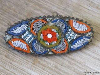 Vintage Italian Glass Tile Micro Mosaic Oval Bar Pin