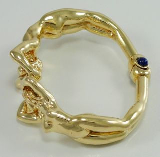 18K Yellow Gold Ivo Spina Cuff Bracelet Nude Female Male Hinged Lapis
