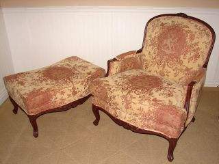 Ethan Allen French Bergere and Ottoman Arm Chair with Footstool