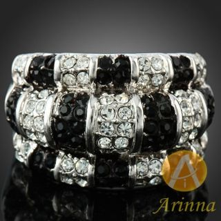 ARINNA Black Clear Classical Finger Rings 18K White Gold GP Swarovski