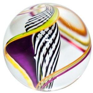 16 Glass Marble Steve Maslach Black White Open Core Latticinio
