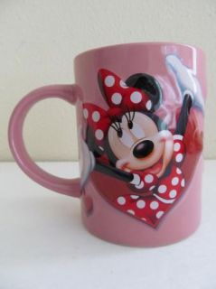 Mini Mouse Pink Red Heart Coffee Mug Jerry Leigh Disney Cup I7