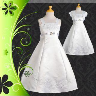 Xmas White Formal Dress Bolero Wedding Flower Girl Bridesmaid Party Sz