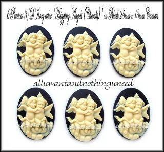 Black Ivor 25 x 18mm Hugging Angels Cherubs Cameos