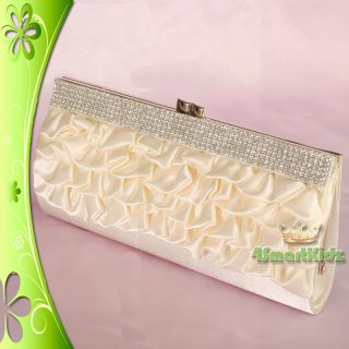 Ivory Satin Clutch Flap Bag Diamante Evening Wedding Bridal Party Prom