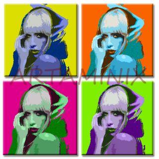 Lady Gaga Pop Art Painting Handmade Modern Italian Art