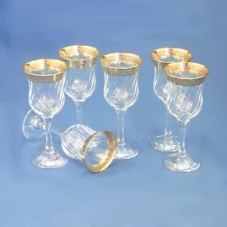 Italian Swirl Wine Glasses Gold Plated 6 PC Set $120