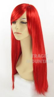 Long Bright Red Little Mermaid Wig Bangs Ariel Jessica Rabbit Costume