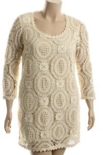 French Connection Ivory Lace Scoop Neck 3 4 Sleeve Lined Cocktail