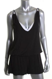 Famous Catalog New Black Modal Double V Slip on Shorts Cover Up Romper