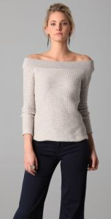 James Perse Two Tone Off The Shoulder Sweater