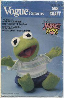 Sew Pattern 598 Muppet Babies Baby Kermit Pajamas Shirt Pants Diaper