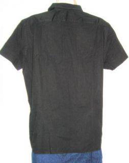 Lindeberg Black Button Front Mens Short Sleeve Shirt ~ sz 46 ~ Code