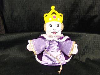 Handmade Gold Purple Velvet Queen Hand Puppet Plush Toy