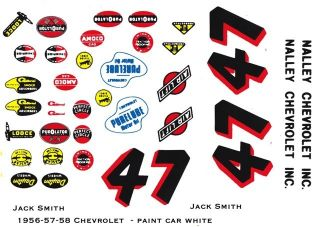 47 Jack Smith Nalley Chevrolet 1 32nd Scale Slot Car Waterslide Decals