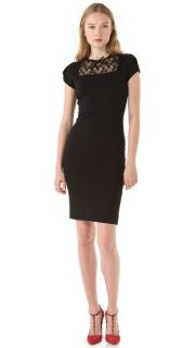 RED Valentino Ponte & Lace Fitted Dress