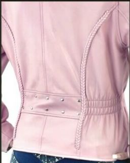 Lady Biker Pink Leather Motorcycle Jacket w Gathered Cinched Waist