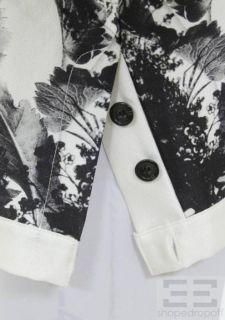 Crew Collection White Black Tulip Print Wool Silk Crewneck Top Size