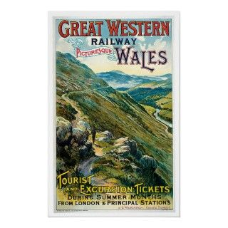 Vintage Great Western Railway Wales UK Poster Art London Principal