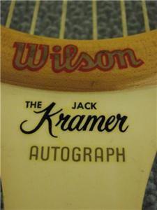Vintage Wilson Jack Kramer Autograph Tennis Racket Wood