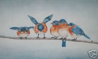 Bluebirds Blue Birds on A Wire Lynch Signed Folk Art Wildlife Print