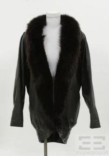 Jacqueline Ferrar Black Leather Dark Brown Fox Fur Coat Size Small