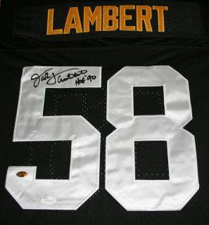 JACK LAMBERT Pittsburgh Steelers Signed Black Jersey Auto JSA Witness