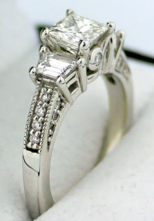 Jaffe 18K White Gold Ring Setting w Diamond Sidestones Milgrain $5
