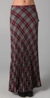 L.A.M.B. Long Pleated Plaid Skirt