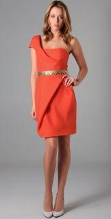 Lela Rose One Shoulder Wrap Dress