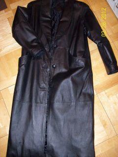 Ladies Jacqueline Ferrar  Long Black Leather Coat Size S