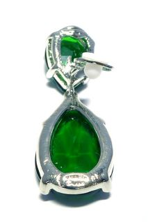 Kenneth Jay Lane NEW KJL Silver Emerald Swarovski Crystal Drop