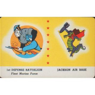 DISNEY WWII INSIGNIA CARD   1ST DEFENSE BATTALION   JACKSON AIR BASE