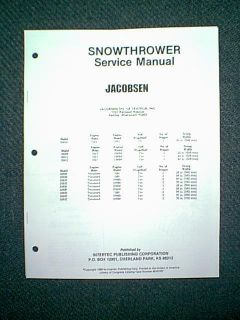 Jacobsen Snow Blower 51610 thru 52642 Service Manual