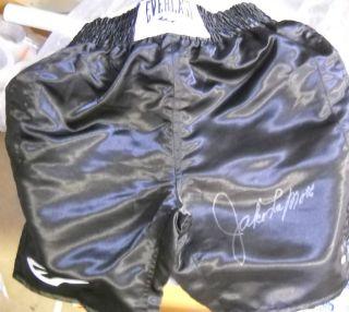 Jake LaMotta Autograph Signed Everlast Boxing Trunks COA Steiner