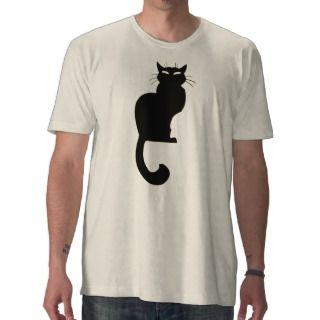 Mens Black Cat T shirt Organic Cat Tee